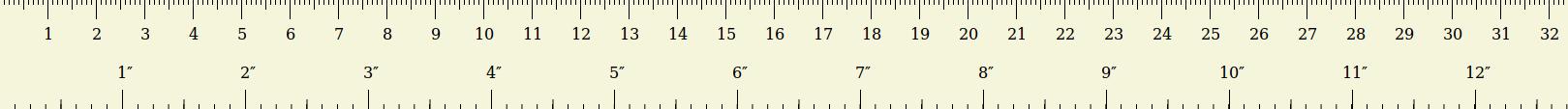 Χάρακας με τα δύο συστήματα μέτρησης: Μετρικό (χιλιοστά) και Αγγλικό (ίντσες)